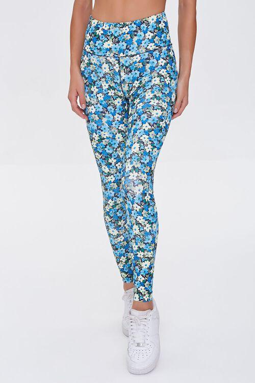 BLUE/MULTI Active Floral Print Leggings, image 2