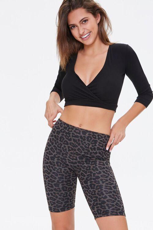Leopard Print Biker Shorts, image 1