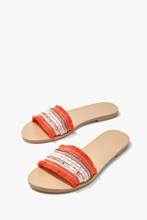 ORANGE Beaded Fringe-Vamp Sandals, image 3
