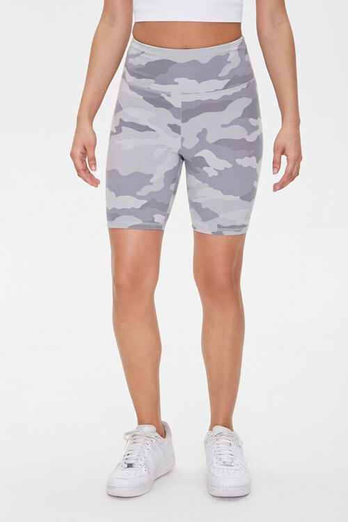 GREY/MULTI Active Camo Print Biker Shorts, image 2
