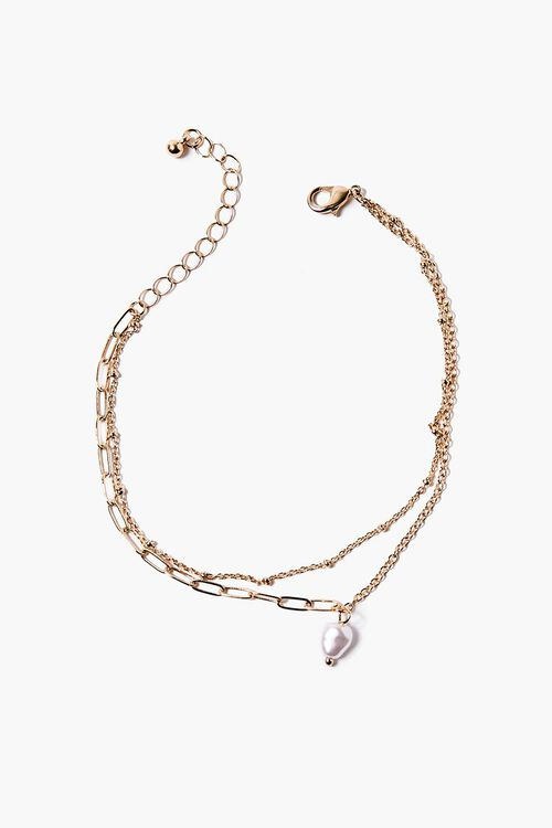 Faux Pearl Layered Anklet, image 1