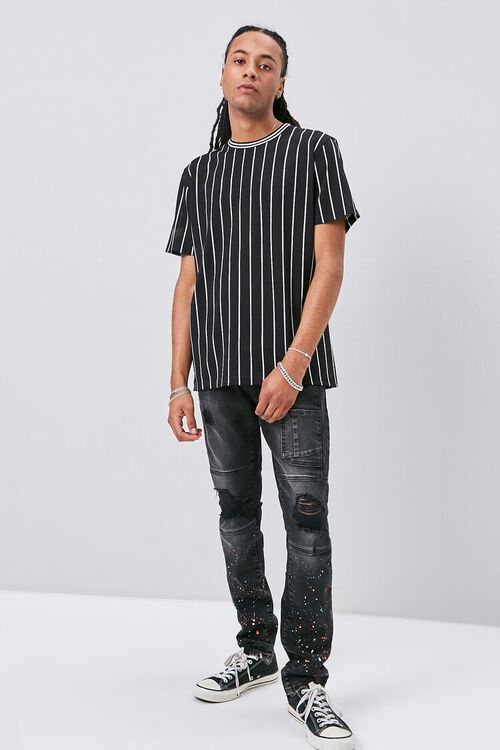 Vertical Striped Print Jersey Mesh Tee, image 4