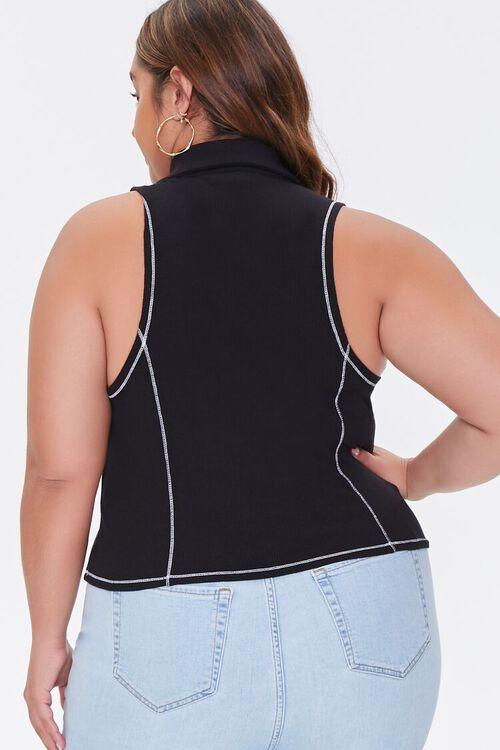 Plus Size Sleeveless Half-Zip Top, image 3