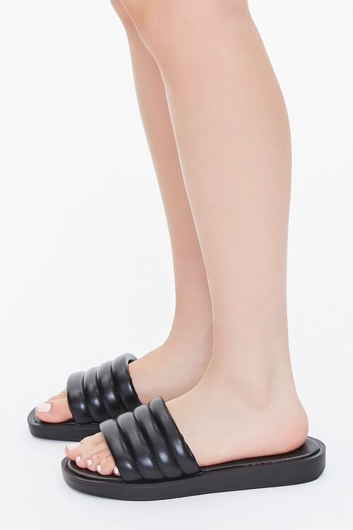 Faux Patent Leather Quilted Sandals, image 2