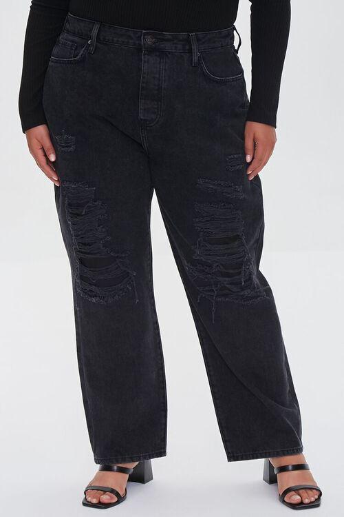 WASHED BLACK Plus Size Boyfriend Jeans, image 2
