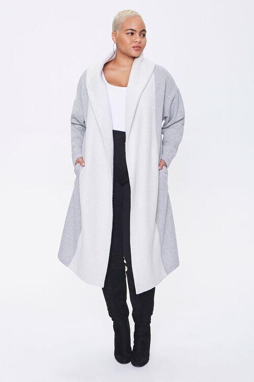 Plus Size Colorblock Longline Coat, image 4