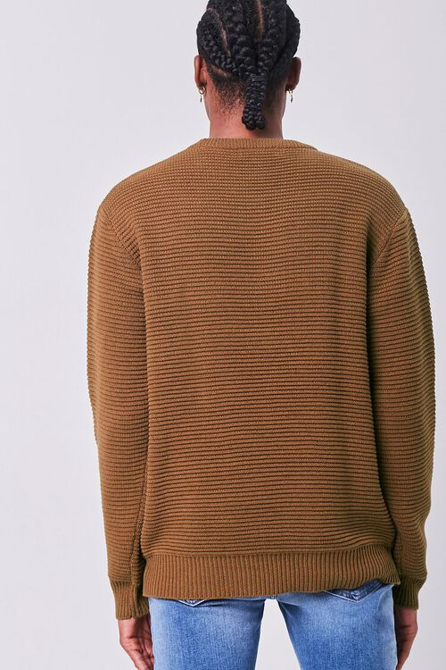 LIGHT BROWN Ribbed Crew Neck Sweater, image 3