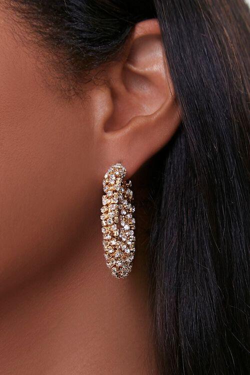 Faux Crystal Hoop Earrings, image 1