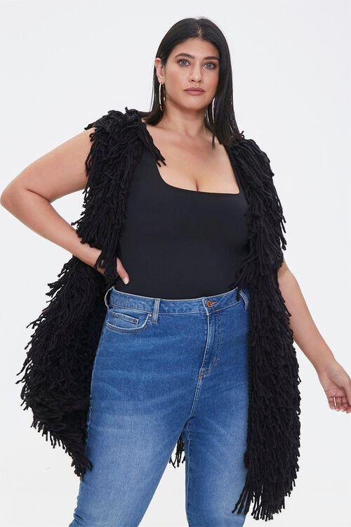 Plus Size Corded Longline Vest, image 1