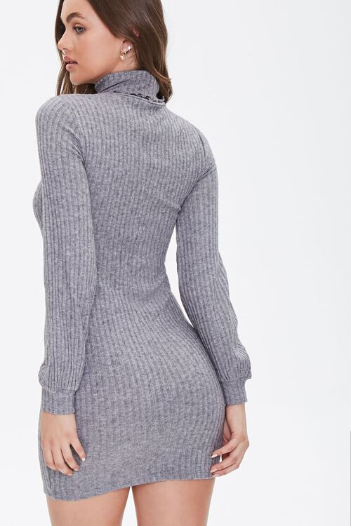 HEATHER GREY Ribbed Knit Mini Dress, image 3
