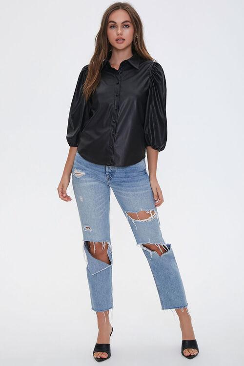 Satin Peasant-Sleeve Shirt, image 4