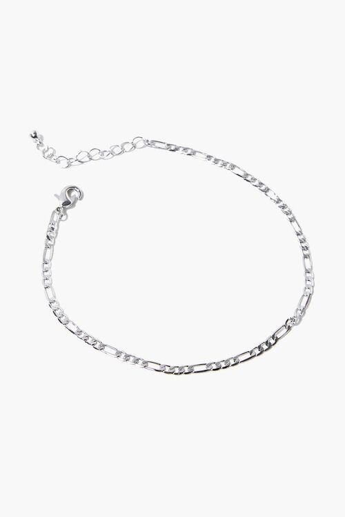 SILVER Figaro Chain Anklet, image 2