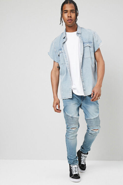 Distressed Slim-Fit Moto Jeans, image 5
