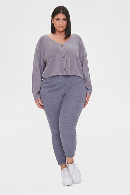 Plus Size Ribbed Knit Joggers, image 1