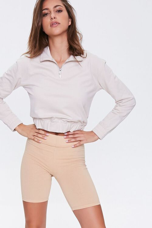Basic Cotton-Blend Biker Shorts, image 1