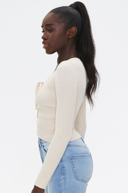 Sweater-Knit Lace-Up Top, image 2