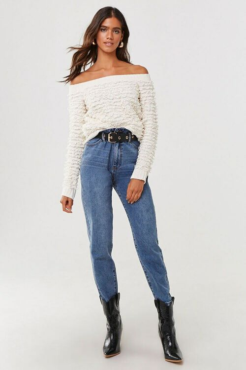 CREAM Off-the-Shoulder Loop-Knit Sweater, image 4