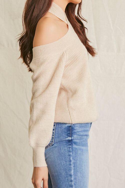 BEIGE Open-Shoulder Halter Sweater, image 2