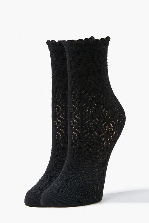 Lace Knit Crew Socks, image 1