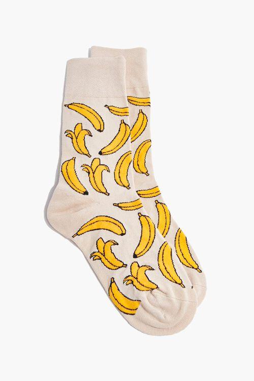 Men Banana Print Crew Socks, image 1