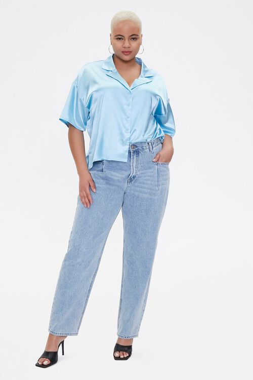 Plus Size Cropped Satin Shirt, image 4