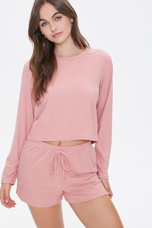 Ribbed Top & Shorts Pajama Set, image 1