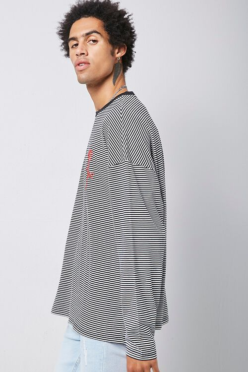 Rose Embroidered Graphic Striped Tee, image 2