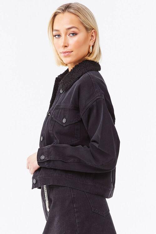 BLACK/BLACK Faux Shearling-Lined Denim Jacket, image 2