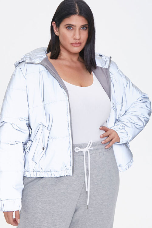 Plus Size Reflective Zip-Up Windbreaker, image 1