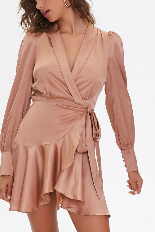 Satin Wrap Dress, image 1