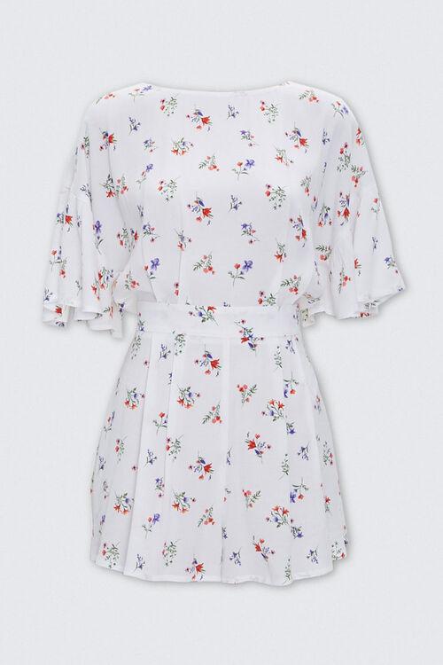 Floral Print Tie-Back Romper, image 1