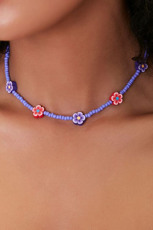 Floral Charm Beaded Choker Necklace, image 1