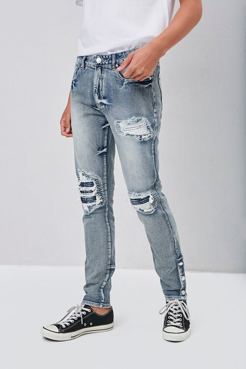 Distressed Snap-Button Jeans, image 1