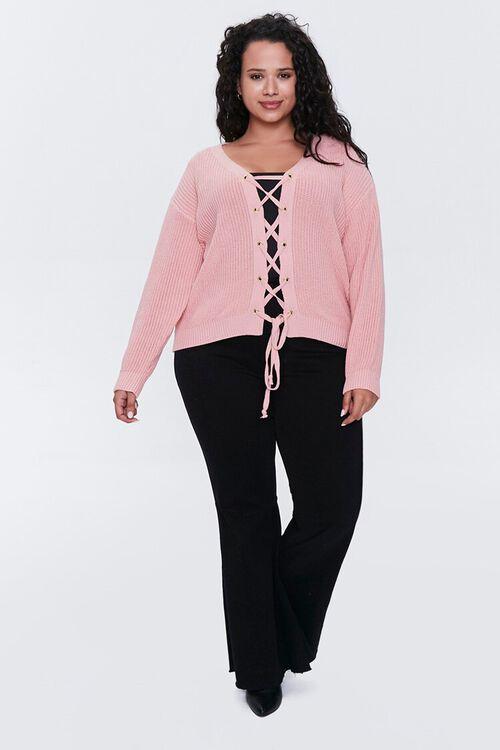 Plus Size Lace-Up Cardigan Sweater, image 4