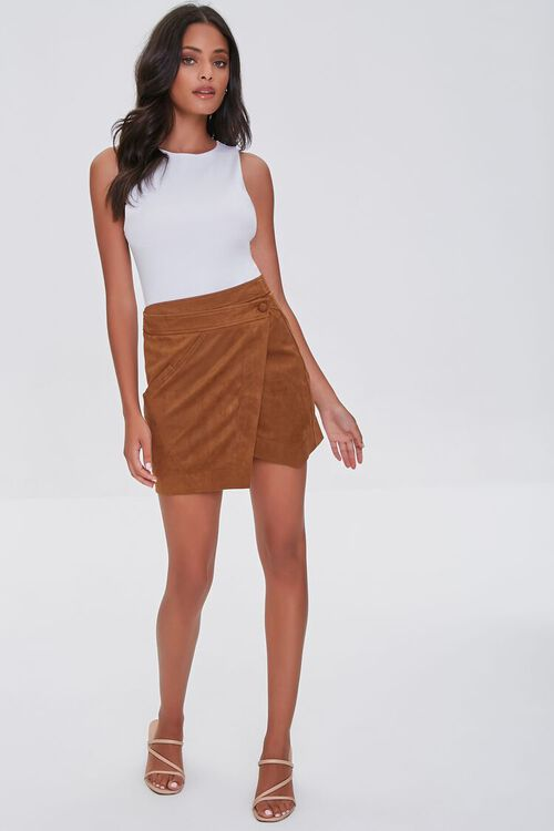 CAMEL Faux Suede Wrap-Front Skirt, image 5