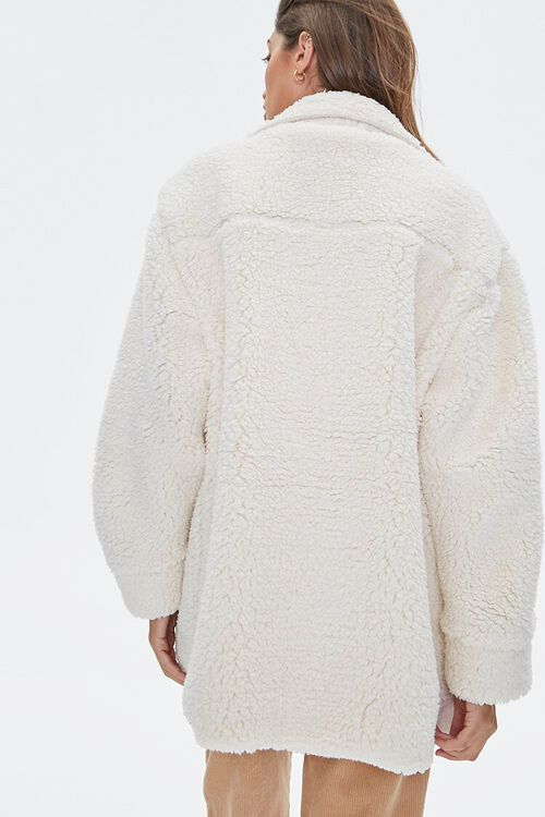 CREAM Faux Shearling Drop-Sleeve Shacket, image 3