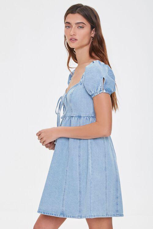 Denim Puff-Sleeve Dress, image 2