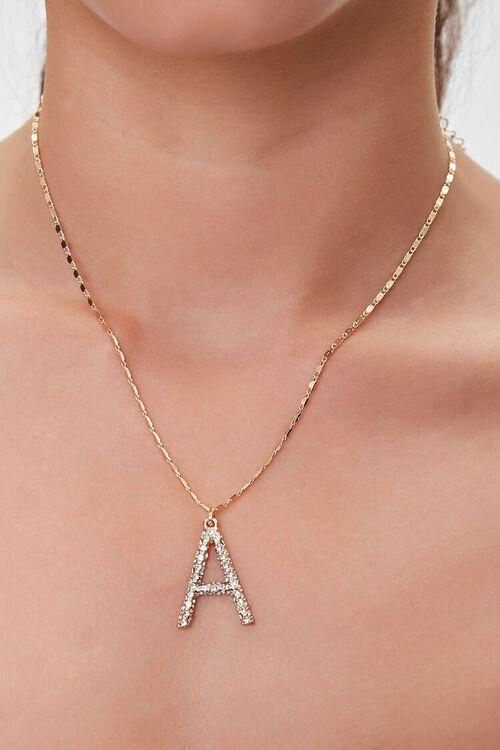 GOLD/A Text Letter Pendant Necklace, image 1