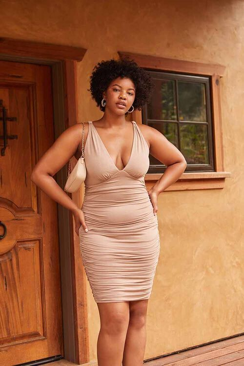 TAUPE Plus Size Ruched Bodycon Dress, image 1