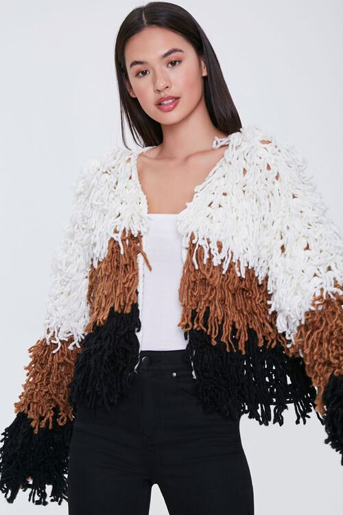 Colorblock Fringe Cardigan Sweater, image 1