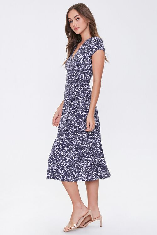 NAVY/CREAM Spotted Fit & Flare Wrap Dress, image 2