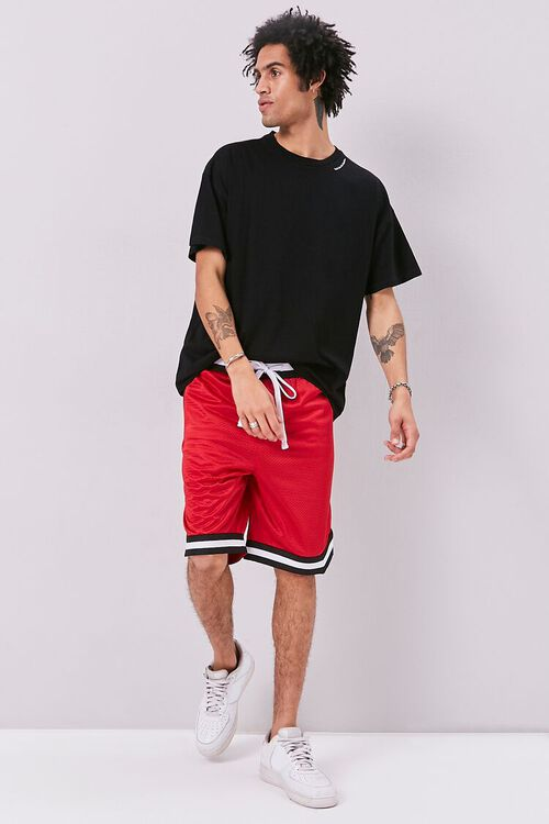 Varsity-Striped Mesh Shorts, image 5