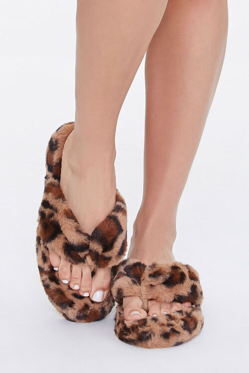 Plush Leopard Thong Slippers, image 4