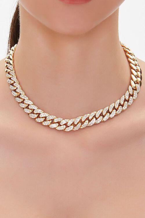 Rhinestone Curb Chain Necklace, image 1
