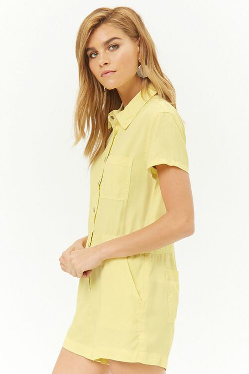 Chambray Button-Front Romper, image 2