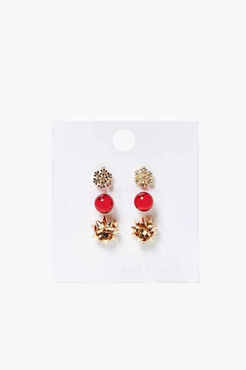 GOLD/RED Snowflake Charm Stud Earring Set, image 1