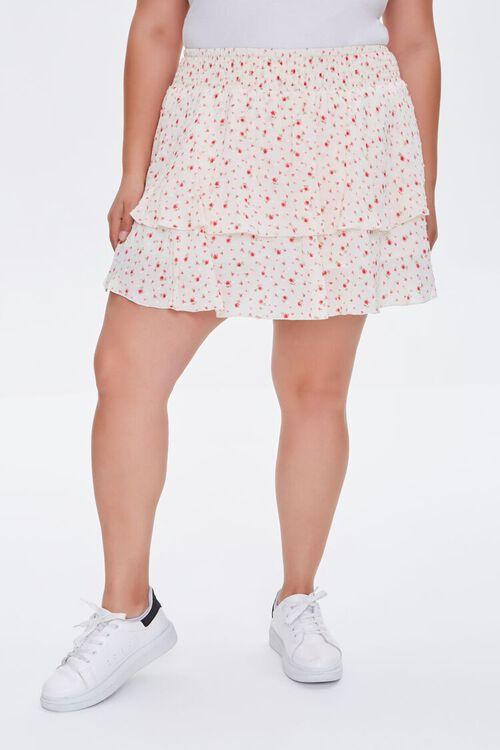 IVORY/MULTI Plus Size Ditsy Floral Skort, image 3