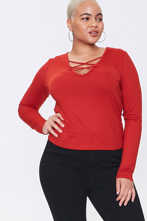 Plus Size Caged Long-Sleeve Top, image 1