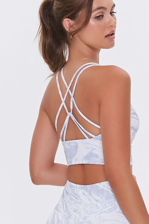 Marbled Print Caged Sports Bra, image 1