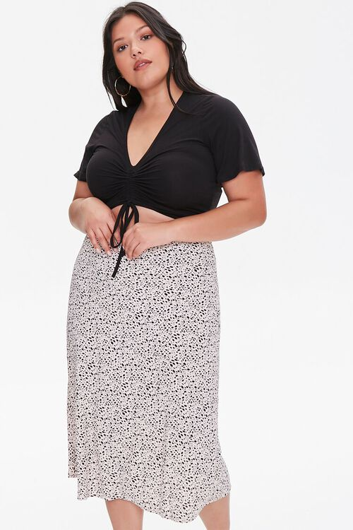 Plus Size Spotted Print Midi Skirt, image 1